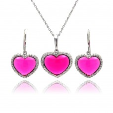 **Closeout** Wholesale Sterling Silver 925 Rhodium Plated Heart Pink CZ Hoop Earring and Necklace Set - STS00147