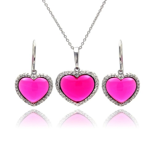 -Closeout- Wholesale Sterling Silver 925 Rhodium Plated Heart Pink CZ Hoop Earring and Necklace Set - STS00147
