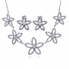 ***CLOSEOUT*** Wholesale Sterling Silver 925 Rhodium Plated Open Flower CZ Stud Earring and Necklace Set - STS00148