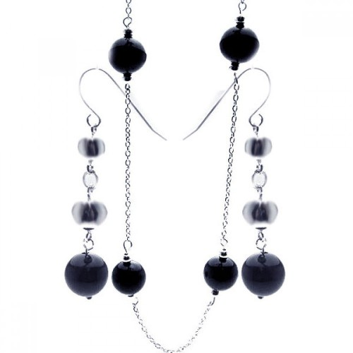 Wholesale Sterling Silver 925 Rhodium Plated Graduated CZ Black Onyx Dangling Hook Set - STS00153