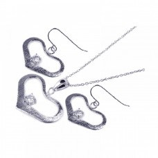 **Closeout** Wholesale Sterling Silver 925 Rhodium Plated Open Wide Heart CZ Dangling Hook Earring and Necklace Set - STS00155