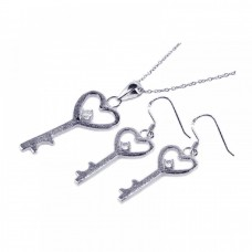 Wholesale Sterling Silver 925 Rhodium Plated Kingdom Heart Key CZ Hook Earring and Necklace Set - STS00156