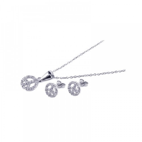 Wholesale Sterling Silver 925 Rhodium Plated Open Peace Sign CZ Stud Earring and Necklace Set - STS00157