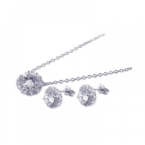 Wholesale Sterling Silver 925 Rhodium Plated Round CZ Stud Earring and Necklace Set - STS00158