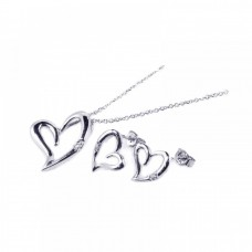 Wholesale Sterling Silver 925 Rhodium Plated Open Heart CZ Stud Earring and Necklace Set - STS00159