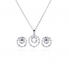 Sterling Silver Rhodium Plated Graduated Open Circle CZ Stud Earring & Necklace Set sts00166