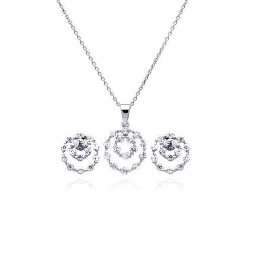 Wholesale Sterling Silver 925 Rhodium Plated Graduated Open Circle CZ Stud Earring and Necklace Set - STS00166