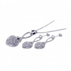 **Closeout** Wholesale Sterling Silver 925 Rhodium Plated Heart CZ Stud Earring and Necklace Set - STS00168