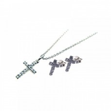 Sterling Silver Rhodium Plated Cross CZ Stud Earring & Necklace Set sts00169