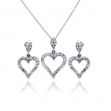 Wholesale Sterling Silver 925 Rhodium Plated Open Heart CZ Dangling Earring and Necklace Set - STS00170