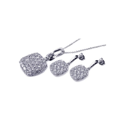Wholesale Sterling Silver 925 Rhodium Plated Square CZ Dangling Earring and Necklace Set - STS00171