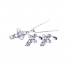Sterling Silver Rhodium Plated Cross CZ Stud Earring & Necklace Set sts00173
