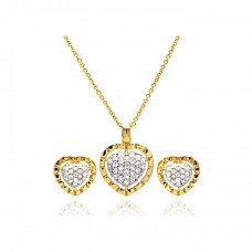 Wholesale Sterling Silver 925 Gold Rhodium Plated Heart CZ Inlay Stud Earring and Necklace Set - STS00175GP