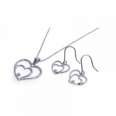 Wholesale Sterling Silver 925 Rhodium Plated Graduated Open Heart CZ Dangling Hook Earring and Necklace Set - STS00176