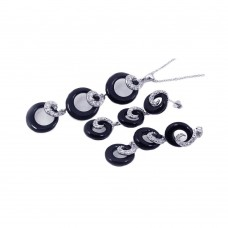 **Closeout** Wholesale Sterling Silver 925 Rhodium Plated Multiple Graduated Circle Black Onyx CZ Stud Earring and Necklace Set - STS00177