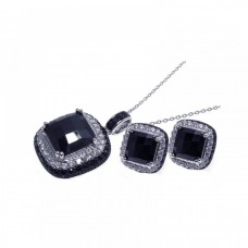 Wholesale Sterling Silver 925 Black and Rhodium Plated Square CZ Stud Set - STS00184