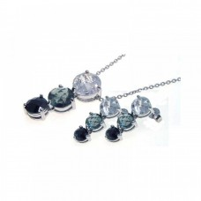 **Closeout** Wholesale Sterling Silver 925 Rhodium Plated Graduated Multicolor CZ Dangling Stud Earring and Necklace Set - STS00187