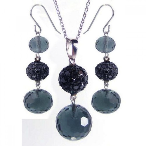 -Closeout- Wholesale Sterling Silver Black and Rhodium Plated Graduated Multicolor Round CZ Dangling Hook Earring and Necklace Set - STS00188