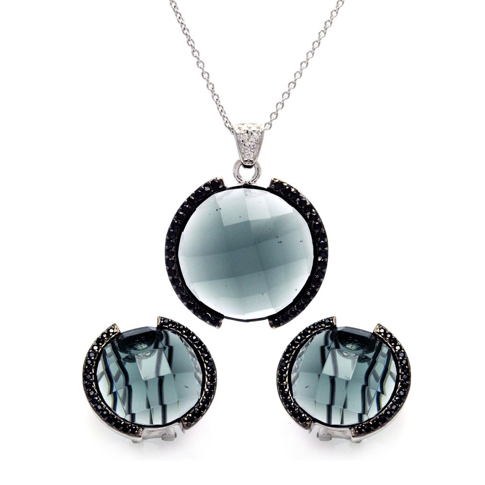 Wholesale Sterling Silver 925 Black and Rhodium Plated Round CZ Set - STS00189