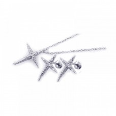 Sterling Silver Rhodium Plated Sharp Cross Star CZ Stud Earring & Necklace Set sts00199