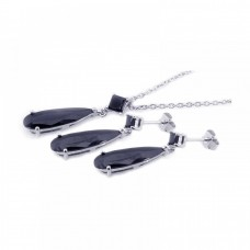 Wholesale Sterling Silver 925 Rhodium Plated Black Teardrop CZ Dangling Earring and Necklace Set - STS00203