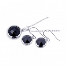 Wholesale Sterling Silver 925 Rhodium Plated Round Black CZ Dangling Hook Set - STS00204