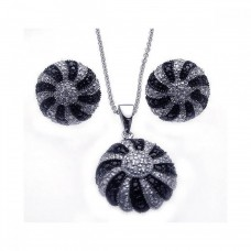 **Closeout** Wholesale Sterling Silver 925 Rhodium Plated Round Black and Clear CZ Earring and Necklace Set - STS00212