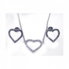 Wholesale Sterling Silver 925 Rhodium Plated Open Heart CZ Stud Earring and Necklace Set - STS00213