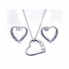 Wholesale Sterling Silver 925 Rhodium Plated Open Heart CZ Stud Earring and Necklace Set - STS00214