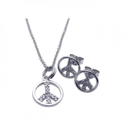 Wholesale Sterling Silver 925 Rhodium Plated Open Peace Sign CZ Stud Earring and Necklace Set - STS00215