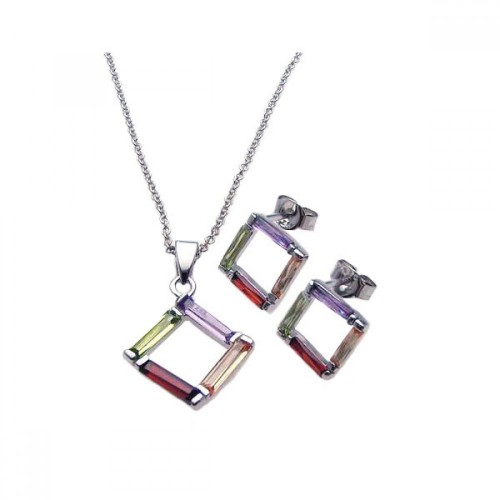 Wholesale Sterling Silver 925 Rhodium Plated Multicolor Open Square CZ Stud Earring and Necklace Set - STS00216