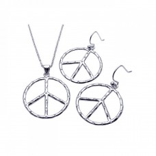 **CLOSEOUT** Wholesale Sterling Silver 925 Rhodium Plated Open Peace Sign CZ Dangling Hook Earring and Necklace Set - STS00219
