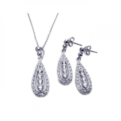 Wholesale Sterling Silver 925 Rhodium Plated Teardrop Channel CZ Dangling Stud Earring and Necklace Set - STS00220