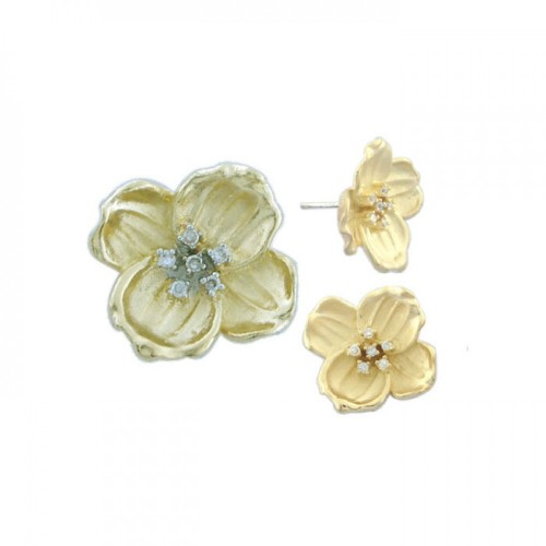 -Closeout- Wholesale Sterling Silver 925 Gold Plated Flower CZ Stud Earring and Necklace Set - STS00221