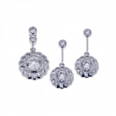 Sterling Silver Rhodium Plated Flower CZ Dangling Earring & Necklace Set sts00222