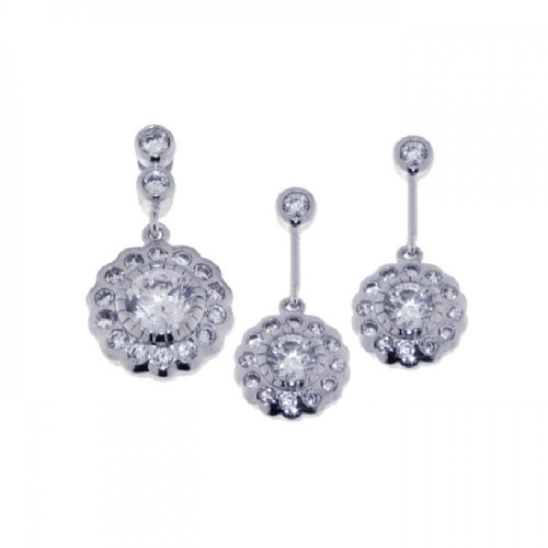 Wholesale Sterling Silver 925 Rhodium Plated Flower CZ Dangling Earring and Necklace Set - STS00222