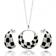 **Closeout** Wholesale Sterling Silver 925 Rhodium Plated Open Circle Checkered CZ Crescent Stud Earring and Necklace Set - STS00223