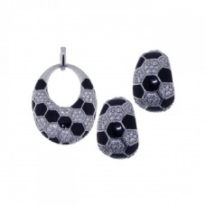 **Closeout** Wholesale Sterling Silver 925 Rhodium Plated Open Circle Checkered CZ Crescent Earring and Necklace Set - STS00224