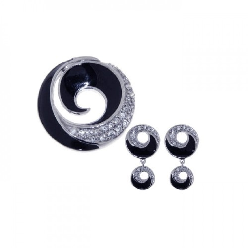 -Closeout- Wholesale Sterling Silver 925 Rhodium Plated Open Circle CZ Dangling Graduated Black Onyx Earring and Necklace Set - STS00226