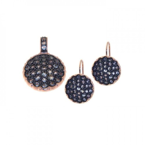 Wholesale Sterling Silver 925 Gold Plated Round Black CZ Lever Back Earring and Necklace Set - STS00231