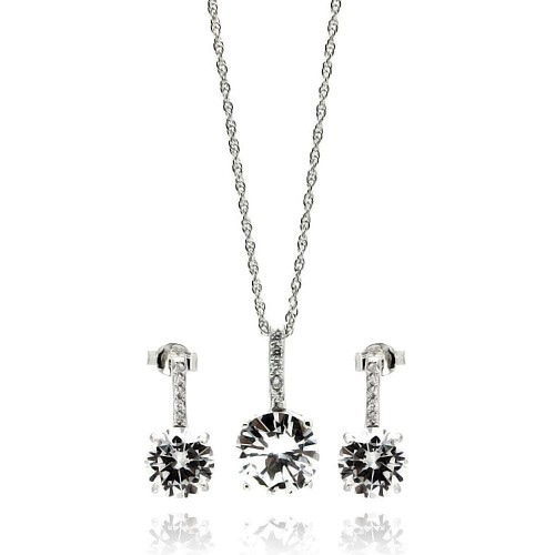 Wholesale Sterling Silver 925 Rhodium Plated Round CZ Dangling Earring and Necklace Set - STS00233