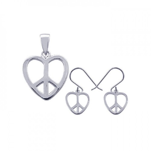Wholesale Sterling Silver 925 Rhodium Plated Open Heart Peace Sign CZ Dangling Hook Earring and Necklace Set - STS00237