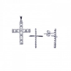 Sterling Silver Rhodium Plated Cross CZ Stud Earring & Necklace Set sts00238