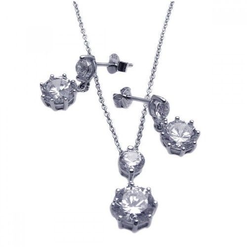 Wholesale Sterling Silver 925 Rhodium Plated Round CZ Dangling Earring and Necklace Set - STS00239