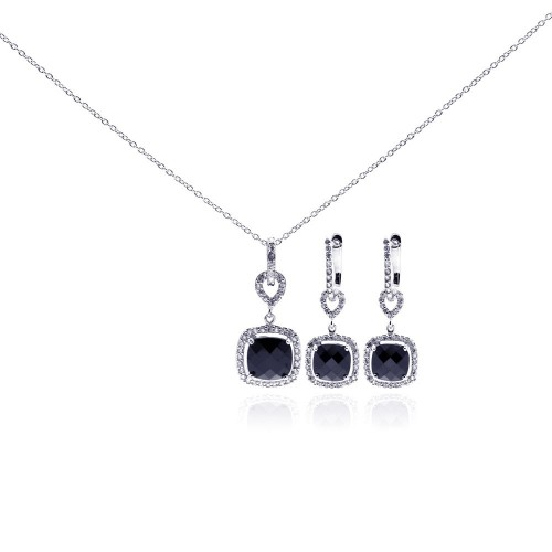 Wholesale Sterling Silver 925 Rhodium Plated Black Square CZ Dangling Earring and Necklace Set - STS00241