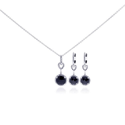 Wholesale Sterling Silver 925 Rhodium Plated Round CZ Dangling Lever Back Earring and Necklace Set - STS00242