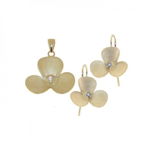 -Closeout- Wholesale Sterling Silver 925 Gold Plated Flower CZ Hook Earring and Necklace Set - STS00243
