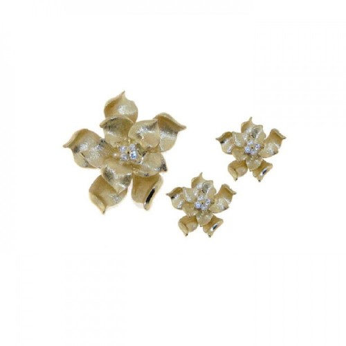 -Closeout- Wholesale Sterling Silver 925 Rhodium Plated Flower CZ Stud Earring and Necklace Set - STS00247