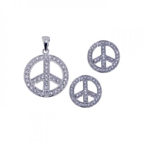 Wholesale Sterling Silver 925 Rhodium Plated Open Circle Peace Sign CZ Earring and Necklace Set - STS00249
