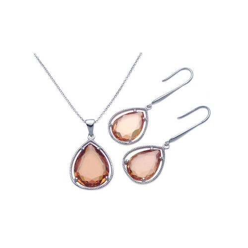 Wholesale Sterling Silver 925 Rhodium Plated Teardrop Champagne CZ Dangling Set - STS00252CH